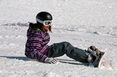 Young Girl Snowboarding
