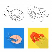 Isolated Object Of Appetizer And Ocean Icon. Collection Of Appetizer And Delicacy Stock Symbol For W poster