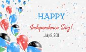 South Sudan Independence Day Greeting Card. Flying Balloons In South Sudan National Colors. Happy In poster
