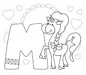 Letter M And Funny Cartoon Unicorn. Animals Alphabet A-z. Coloring Page. Printable Worksheet. Handwr poster