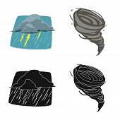 Vector Design Of Weather And Climate Icon. Collection Of Weather And Cloud Vector Icon For Stock. poster