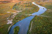 river meandering through Nebraska Sandhills - aerial view of MIddle Loup River above Halsey poster