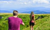 Young Adventurers. Travel Together With Darling. Couple Taking Photo. Couple In Love Hiking Mountain poster