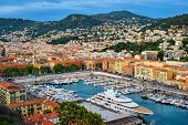 View of Old Port of Nice with luxury yacht boats from Castle Hill, France, Villefranche-sur-Mer, Nic poster