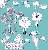 Doodle Country Set, hand drawn set of 3D scrapbook cutouts: sunflowers, clouds, sun, sheep, picket f
