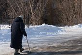 Back View Of Elderly Women Walking Along A Slippery Winter Road With A Cane. Concept Elder Day, Take poster
