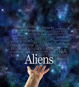 Are You Alien Aware Word Cloud - Female Hand With The Word Aliens Floating Above Surrounded By A Rel poster