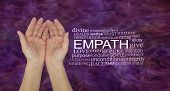 The Healing Hands Of An Empath - Pair Of Female Hands Gently Cupped Beside An Empath Word Cloud Agai poster