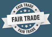 Fair Trade Ribbon. Fair Trade Round White Sign. Fair Trade poster
