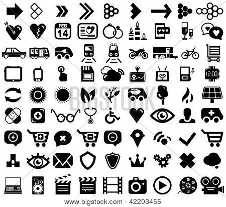 Vector set of black web icons isolated on white
