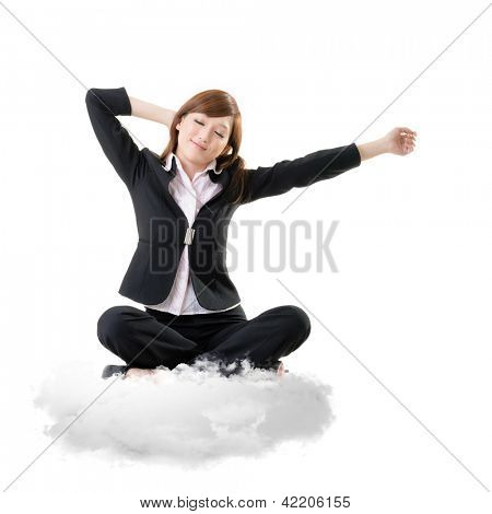 Business woman sit on cloud over sky and stretch arms, relax concept portrait isolated on white background.