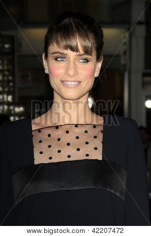 LOS ANGELES - FEB 4:  Amanda Peet arrives at the 'Identity Theft' premeire at the Village Theater on February 4, 2013 in Westwood, CA