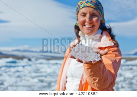 Woman with ice