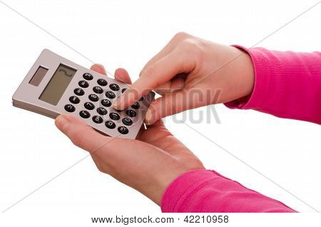 Finger Is Typing On A Pocket Calculator
