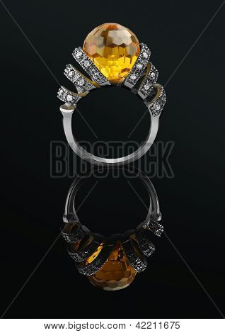 Jewellery Ring Isolated On A Black