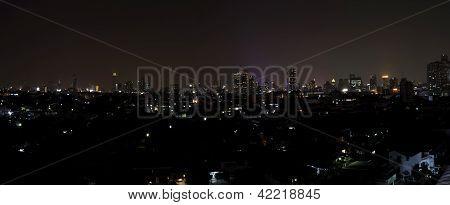 Panorama Of Bangkok City Downtown At Night