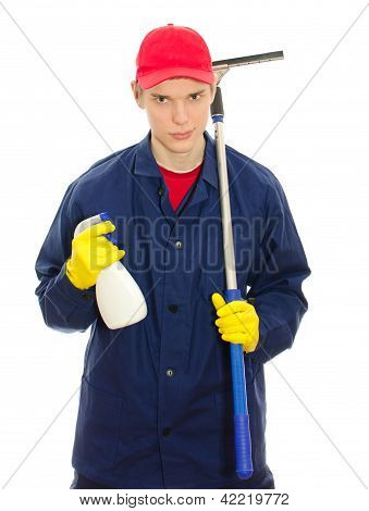 Young Male Window Cleaner With Tools. Isolated On White
