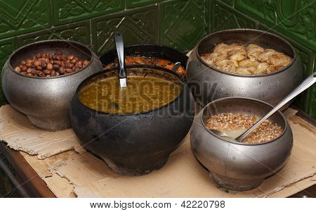 Food prepared is in a stove