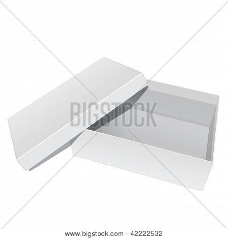 Paquete caja abierta con la tapa quitada en blanco blanco. Para los zapatos, los dispositivos electrónicos y otro produc