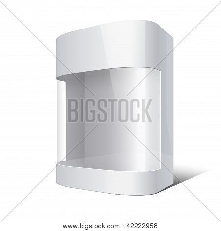 Paquete caja con esquinas redondeadas y ventana de plástica transparente. Ilustración de Vector