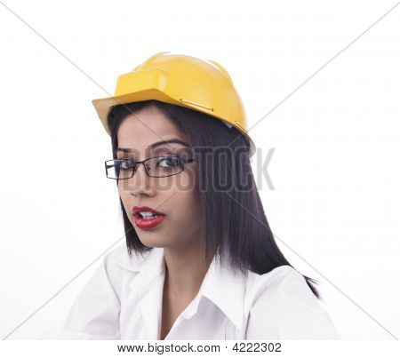 Asian Girl With A Factory Helmet