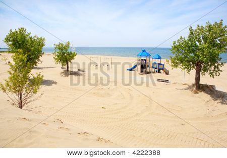 Playground Equipment On The Beach At Jean Klock Park, Benton Harbor, Michigan