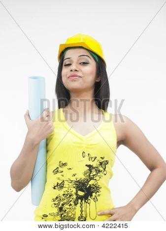 Asian Female Construction Worker With A Hard Hat