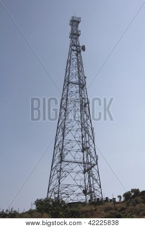 A Television's signal receiving tower at Sinhanghad Pune, Maharashtra, India
