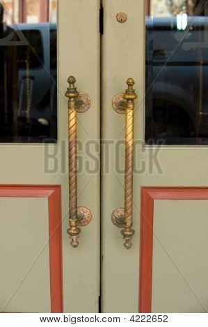 A Close Up Image Of Some Retro Doors