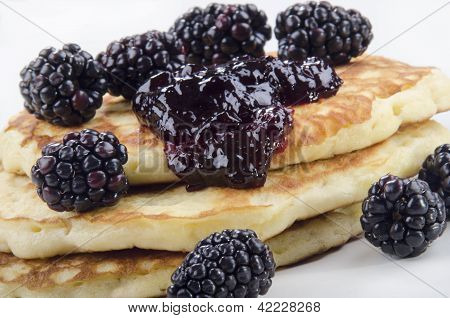 Pancake With Blackberries And Jelly
