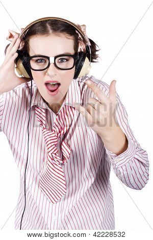 Cool Music Nerd Rocking Out To Metal On Headphones