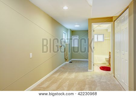 Basement Hallway With Laundry Space And Bathroom.