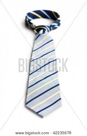 the blue necktie on white background
