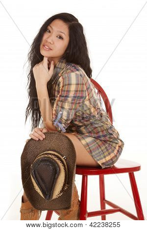Asian Woman Sit Red Chair Wearing Plaid