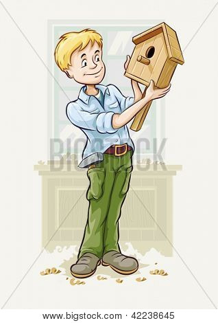 boy made a wooden starling-house for birds. Vector Illustration. EPS10