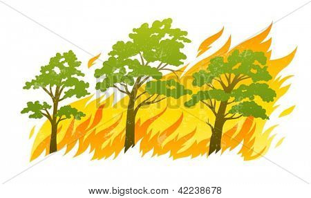 burning forest trees in fire flames - natural disaster concept, vector illustration isolated on white background. EPS10. Transparent objects used for shadows and lights drawing. Vector Illustration.