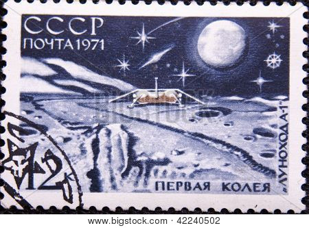 RUSSIA - CIRCA 1971: stamp printed by USSR shows satellite