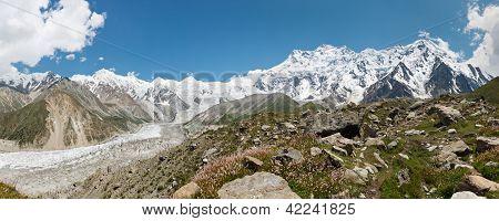 Rakhiot Glacier And Nanga Parbat Panorama