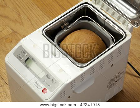 Bread Machine Making Fresh Bread At Home.