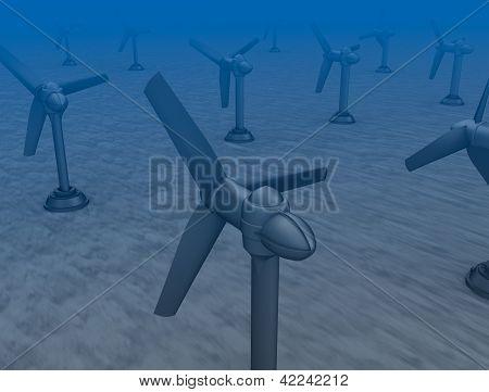 Flutwelle-Turbinen auf der Unterseite des Meeres.