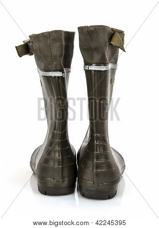 Rear View Of A Pair Of Wellington Boots On A White Background