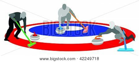 Athletes Playing Curling Sport On Ice Curling Sheet