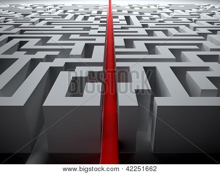 straight line through the maze
