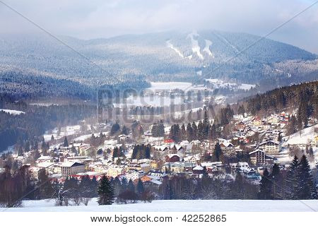 The skiing resort of Zelezna Ruda (Iron Ore).  Beautiful village in a center of The National Park Sumava. Czech Republic, Europe.