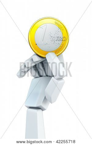 hand hold euro coin, isolated 3d rendering