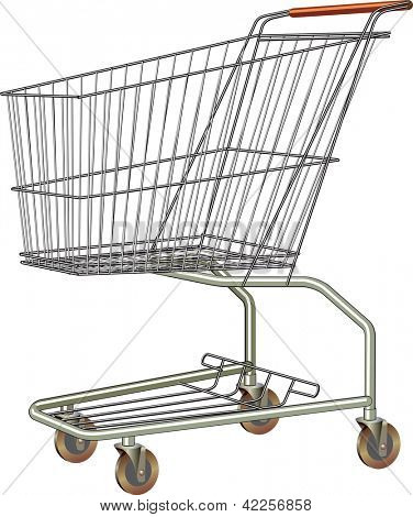 Common shopping cart from stainless steel. Raster image. Find an editable version in my portfolio.