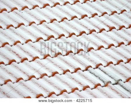 Roof Tiles Covered With Snow