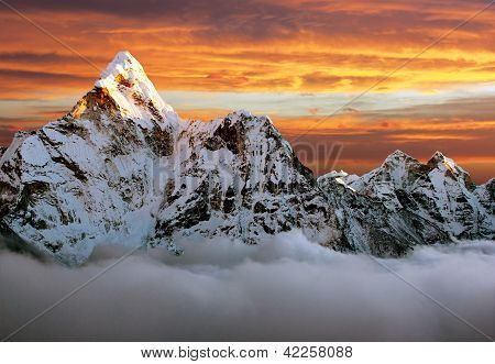 Evening view of Ama Dablam on the way to Everest Base Camp