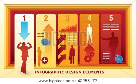 Infographic Design Elements with five fields in an illusion of a perspective