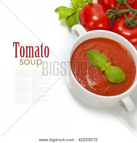 Traditional tomato soup and ingredients (with easy removable sample text)